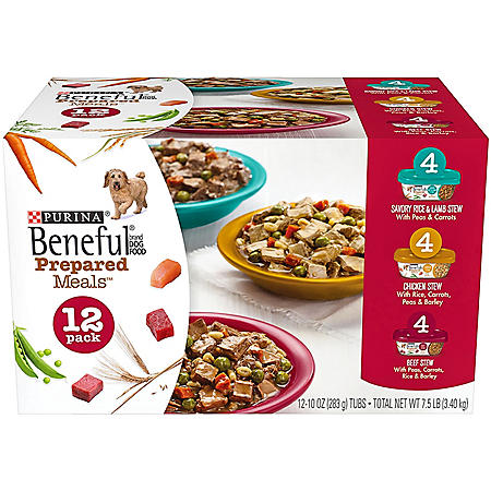 Purina Beneful Prepared Meals Beef Stew, Chicken Stew, and Savory Rice & Lamb Stew Adult Wet Dog Food Variety Pack (10 oz., 12 ct.)