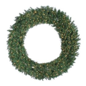 "60"" Aspen Spruce Wreath with 600 Warm White Lights"