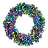 "24"" Pre-Lit Color Changing Fiber Optic Wreath"