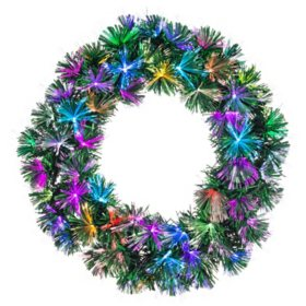 "24"" Pre-Lit Color Changing Fiber Optic Wreath"