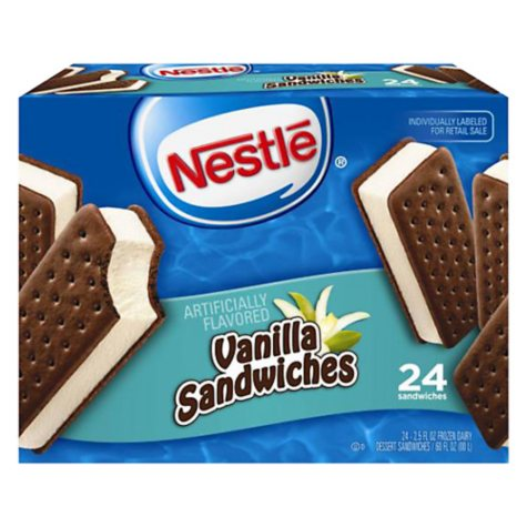 Nestlé® Vanilla Ice Cream Sandwiches - 24/3.5 oz.