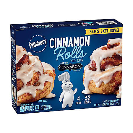 Pillsbury Cinnamon Rolls, Cinnabon Cinnamon Cream Cheese Icing (32 ct.)