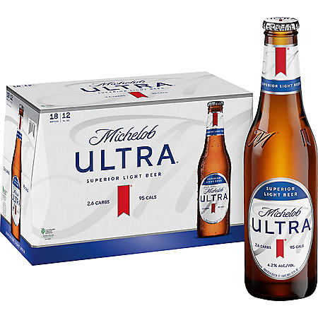 Michelob Ultra Superior Light Beer (12 oz. bottles, 18 pk.)