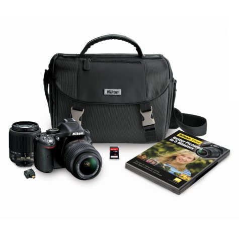 Nikon D5200 24.1MP DSLR Camera Bundle with 18-55mm VR Lens, 55-200mm, DSLR Bag, Wifi Adapter, and 16GB SDHC Card
