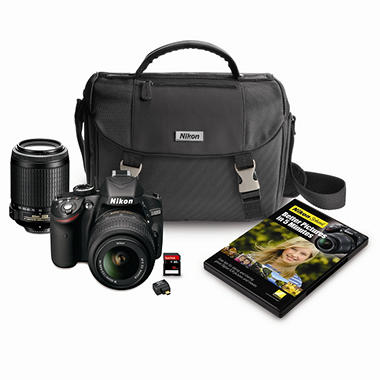 Nikon D3200 DSLR Bundle with 18-55mm VR Lens and 55-200mm VR Lens, WiFi Adapter, Carrying Case and 16GB Memory Card