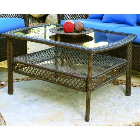 Elegant Wicker Mocha Coffee Table
