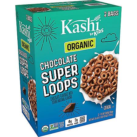 Kashi by Kids Super Loops Organic Breakfast Cereal, Chocolate (26 oz, 2 pk.)