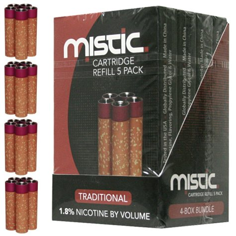 Mistic 5 Red Electronic Cigarette Cartridges - Traditional Flavor- 4 pk.