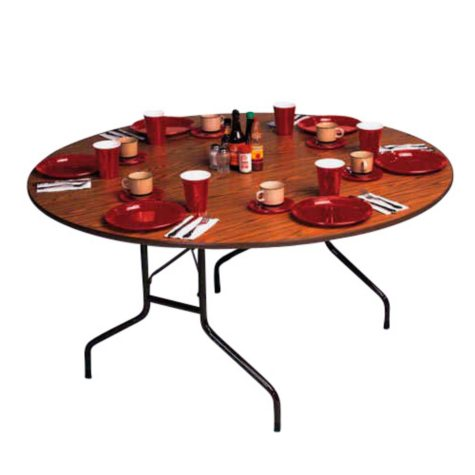 Correll 5' Heavy-Duty Folding Table - Walnut - 2 pack