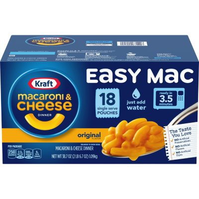 kraft easy mac original flavor single serve pouches 18 ct