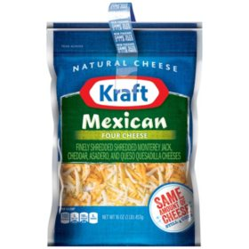 Kraft Mexican Four Cheese Finely Shredded Cheese (16 oz., 2 pk.)