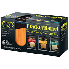 Cracker Barrel Sliced Natural Cheese, Variety Pack (36 slices)