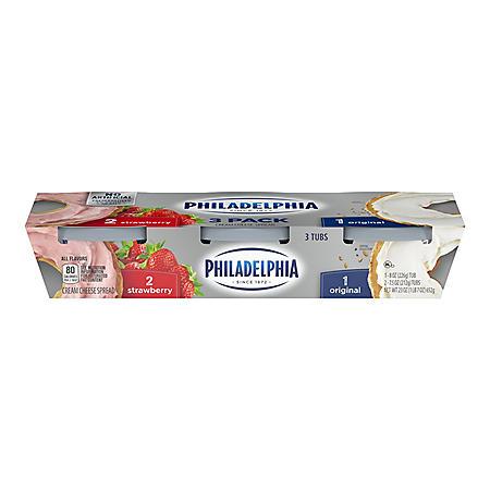 Kraft Philadelphia Cream Cheese Variety Pack, Strawberry and Original (23 oz.)