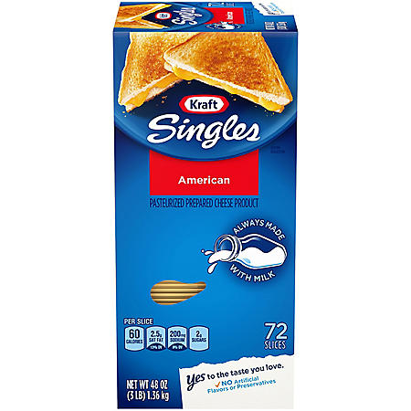 Kraft Singles American Cheese Slices (48 oz  box, 72 ct )