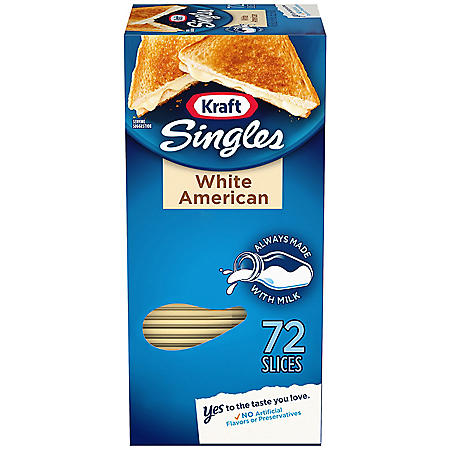 Kraft Singles Cheese Slices, White American Cheese (48 oz., 72 ct.)