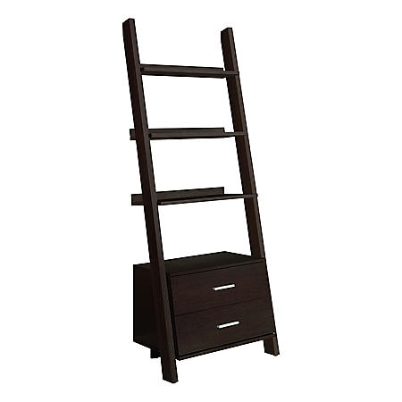 """Bookcase - 69""""H Ladder with 2 Storage Drawers, Assorted Colors"""