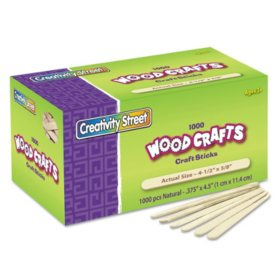"Creativity Street Natural Wood Craft Sticks, 4.5"" x 0.38"", Wood, Natural, 1,000/Box"