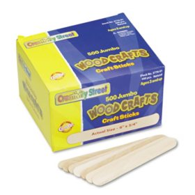Chenille Kraft Jumbo Size Natural Wood Craft Sticks, 6 x 3/4 (500 per box)