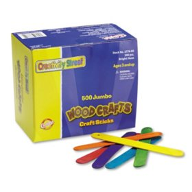 "Creativity Street Colored Wood Craft Sticks, Jumbo, 6"" x 0.75"", Wood, Assorted, 500/Box"