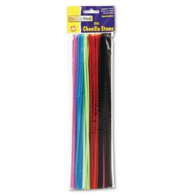 "Creativity Street Regular Stems, 12"" x 0.16"", Metal Wire, Polyester, Assorted, 100/Pack"