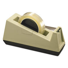 "Scotch - Heavy-Duty Weighted Desktop Tape Dispenser, 3"" Core, Plastic -  Putty/Brown"