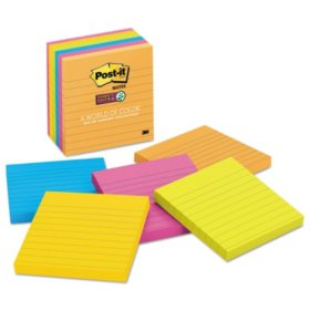 Post-it Super Sticky Notes, 4 x 4, Lined, 90 Sheet Pads, 6 Pads, Jewel Pop Collection