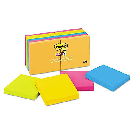Post-it Notes Super Sticky Pads, 3 x 3, 90 Sheet Pads, 12 Pads, 1,080 Total Sheets, Select Color