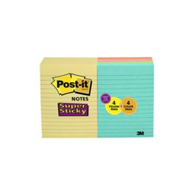 "Post-it Super Sticky Notes,  4"" x 6"", Assorted Colors, 8 pads, 800 Total Sheets"