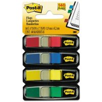 Post-it Flags - Small Page Flags in Dispensers, Four Colors, 35/Color -  4 Dispensers/Pack