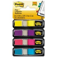 3M Post-it - Small Flags in Dispensers, Four Colors, 35/Color - 4 Dispensers/Pack