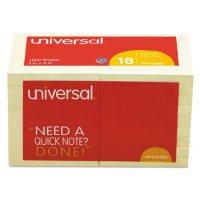 Universal Self-Stick Note Pads, 3 x 3, Yellow, 100-Sheet, 18/Pack