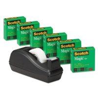 """Scotch - Scotch Magic Tape, 3/4"""" x 1000"""", 1"""" Core, Black -  6/Pack"""