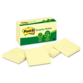Post-it Greener Notes - Recycled Notes, 3 x 3, Canary Yellow -  12 100-Sheet Pads/Pack