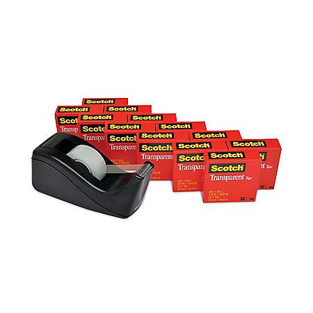 "Scotch - Transparent Tape Dispenser Value Pack, 1"" Core, Black -  12/Pack"