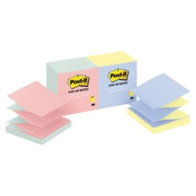 Post-it Pop-up Notes - Pop-up Refill, 4 Alternating Marseille Colors, 3 x 3, 100/Pad -  12 Pads/Pack