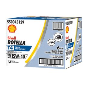 Rotella T4 Triple Protection 15W40 Heavy-Duty Diesel Engine Oil (6-pack/1 gallon bottles)
