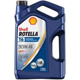 Shell Rotella T6 5W-40 Synthetic Heavy-Duty Diesel Engine Oil, (3-pack/1 gallon bottles)