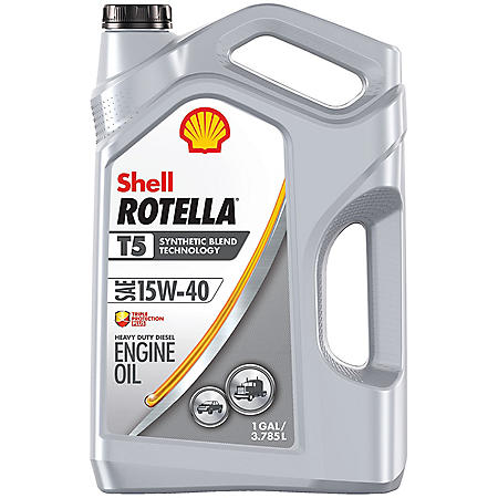 Shell Rotella T5 15W-40 Synthetic Blend Heavy-Duty Diesel Engine Oil, (3-pack/1 gallon bottles)