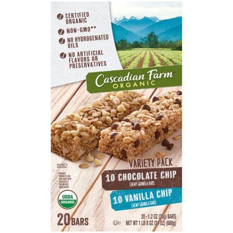 Cascadian Farm Organic Chocolate and Vanilla Chip Chewy Granola Bar (1.2 oz., 20 ct.)