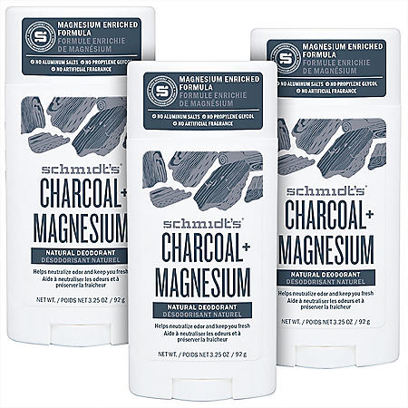 Schmidt's Natural Deodorant, Charcoal & Magnesium (3.25 oz., 3 pk.)