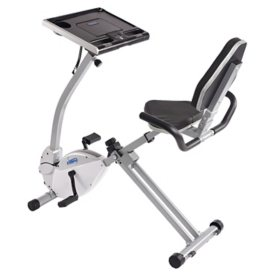 Stamina 2-in-1 Recumbent Exercise Bike Workstation and Standing Desk
