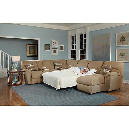 Lane Furniture Robert 4-Piece Reclining Sectional Sofa with Chaise ...