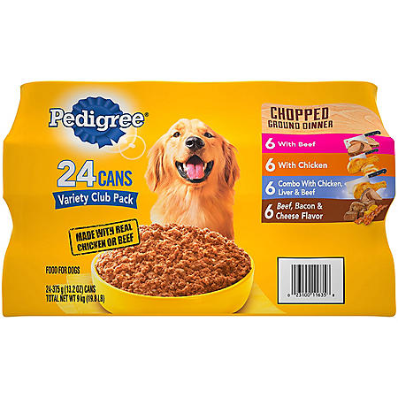 Pedigree Chopped Ground Dinner Wet Dog Food, Variety Pack (13.2 oz., 24 ct.)