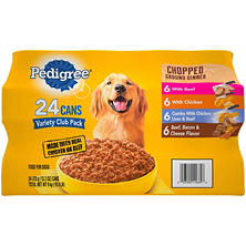 Pedigree Chopped Ground Dinner Wet Dog Food, Variety Pack (13.2 Oz., 24-Ct.)