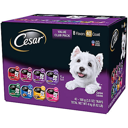 Cesar Canine Cuisine Wet Dog Food, 8 Flavor Variety Pack Classic Loaf in Sauce (3.5 oz., 40 ct.)
