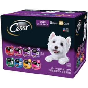 Cesar Canine Cuisine Wet Dog Food, 8 Flavor Variety Pack in Meaty Juices (3.5 oz., 40 ct.)