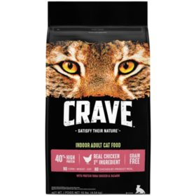 Crave Indoor Adult High-Protein Grain-Free Dry Cat Food, Chicken & Salmon (10 lbs.)