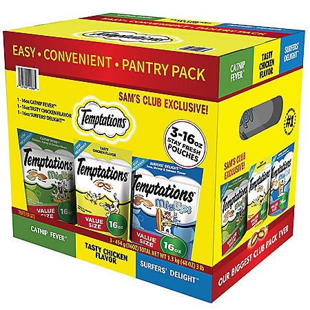 Temptations Cat Treats 3 lb. Club Pack (3 flavors, 1 lb. pouches)