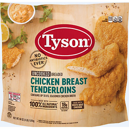 Tyson Breaded Chicken Breast Tenderloins, Frozen (4 lbs.)
