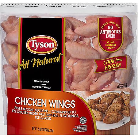 Tyson Raw Chicken Wings, Frozen (5 lbs.)